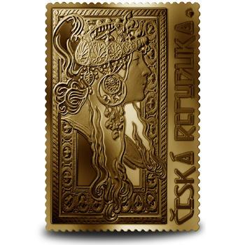 Medaile s motivem známky - Brunetka 1/4 Oz zlato