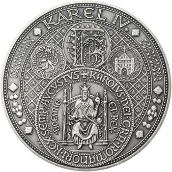 Nejkrásnější medailon III. Císař a král - 50 mm Ag patina - 1