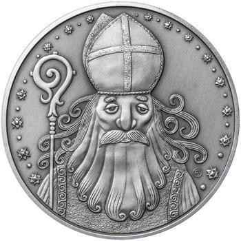 Čert a Mikuláš 25 mm stříbro patina - 1