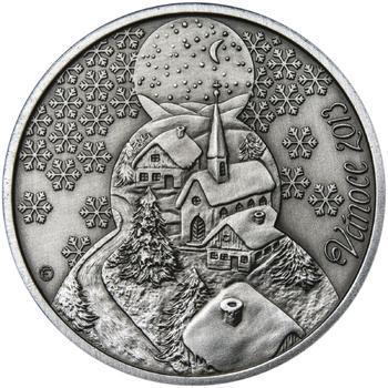 Vánoce 25 mm stříbro patina - 1