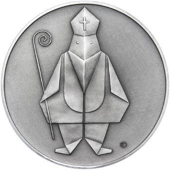 Čert a Mikuláš českého kubisty 50 mm stříbro patina - 1