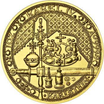 Nejkrásnější medailon IV. - Karlštejn zlato b.k. - 1