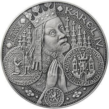 Nejkrásnější medailon I. Nové Město pražské - 50 mm Ag patina - 1