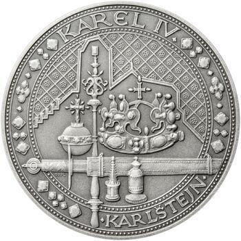 Nejkrásnější medailon IV. - Karlštejn 50 mm Ag patina - 1