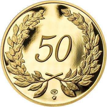 Medaile k životnímu výročí 50 let - 1 Oz zlato Proof, 50 let - 1