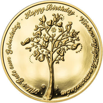 Medaile k životnímu výročí 75 let - 1 Oz zlato Proof, 75 let