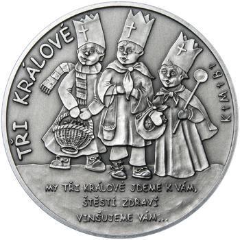 Tři králové 25 mm stříbro patina - 1