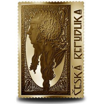 Medaile s motivem známky - Blondýnka 1/4 Oz zlato