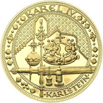 Nejkrásnější medailon IV. - Karlštejn 2 Oz zlato b.k. - 1