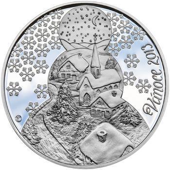 Vánoce 25 mm stříbro Proof - 1
