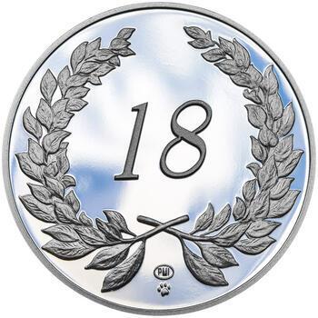 Medaile k životnímu výročí 18 let - 1 Oz stříbro Proof, 18 let - 1