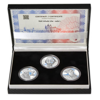 RABÍ JEHUDA LÖW – návrhy mince 200,-Kč - sada I. tří Ag medailí 34mm Proof v etui - 1