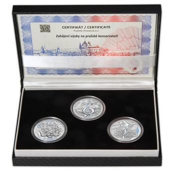 PRAŽSKÁ KONZERVATOŘ – návrhy mince 200,-Kč - sada tří Ag medailí 34mm Proof v etui - 1