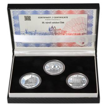 20 LET ČNB A ČESKÉ MĚNY – návrhy mince 200 Kč - sada tří Ag medailí 34 mm Proof v etui - 1