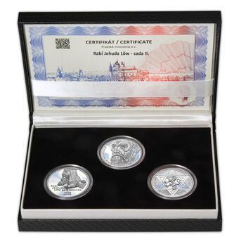 RABÍ JEHUDA LÖW – návrhy mince 200 Kč - sada II. tří Ag medailí 34 mm Proof v etui - 1