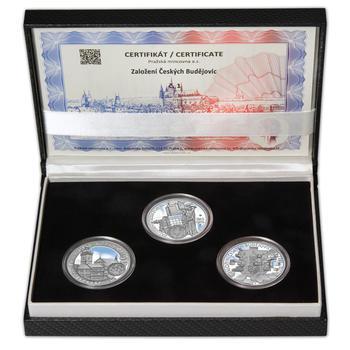 ČESKÉ BUDĚJOVICE – návrhy mince 200,-Kč - sada tří Ag medailí 34mm Proof v etui - 1