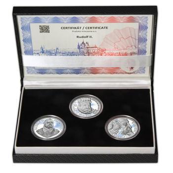 RUDOLF II. – návrhy mince 200 Kč - sada tří Ag medailí 34 mm Proof v etui - 1