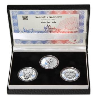 ALOYS KLAR – návrhy mince 200 Kč - sada tří Ag medailí 34 mm Proof v etui - 1