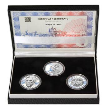 ALOYS KLAR – návrhy mince 200,-Kč - sada tří Ag medailí 34mm Proof v etui - 1