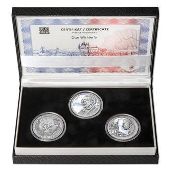 OTTO WICHTERLE – návrhy mince 200,-Kč - sada tří Ag medailí 34mm Proof v etui - 1
