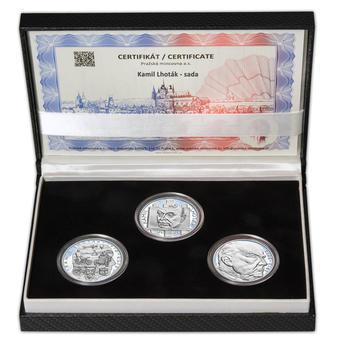 KAMIL LHOTÁK – návrhy mince 200,-Kč - sada tří Ag medailí 34mm Proof v etui - 1