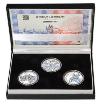 ZALOŽENÍ SOKOLA – návrhy mince 200 Kč - sada tří Ag medailí 34 mm Proof v etui - 1
