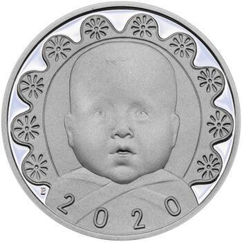 Stříbrný medailon k narození dítěte s peřinkou 2020 - 28 mm, Stříbrný medailon k narození dítěte s peřinkou 2020 - 28 mm - 1