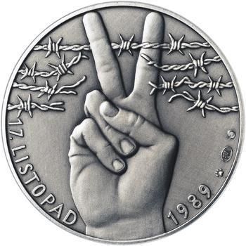 17. listopad 1989 - stříbro 1 Oz patina - 1