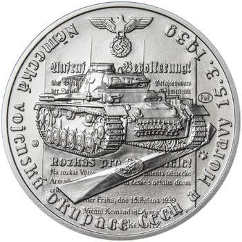 Vpád německých vojsk - 15. březen 1939 - 28 mm stříbro b.k. - 1