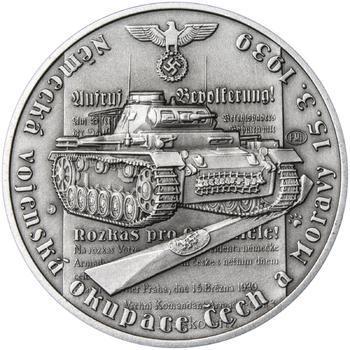 Vpád německých vojsk - 15. březen 1939 - 28 mm stříbro patina - 1