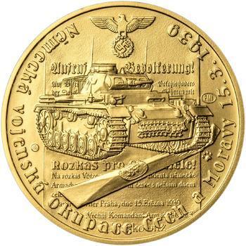 Vpád německých vojsk - 15. březen 1939 - 1 Oz zlato b.k. - 1