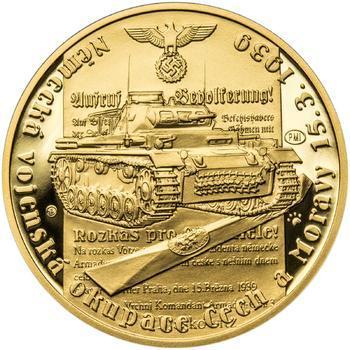 Vpád německých vojsk - 15. březen 1939 - 1/2 Oz zlato Proof - 1