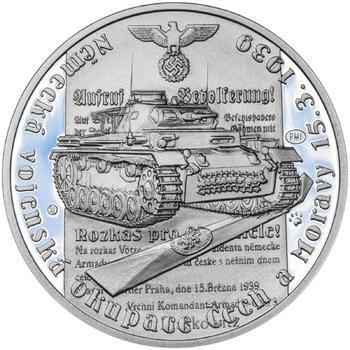 Vpád německých vojsk - 15. březen 1939 - 28 mm stříbro Proof - 1