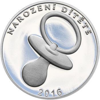 Stříbrný medailon k narození dítěte 2016 - 28 mm, Stříbrný medailon k narození dítěte 2016 - 28 mm - 1