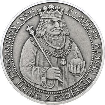 550 let od korunovace Jiřího z Poděbrad českým králem - stříbro patina - 1