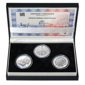 KLÁŠTER ZLATÁ KORUNA – návrhy mince 200 Kč - sada tří Ag medailí 34 mm Proof v etui - 1