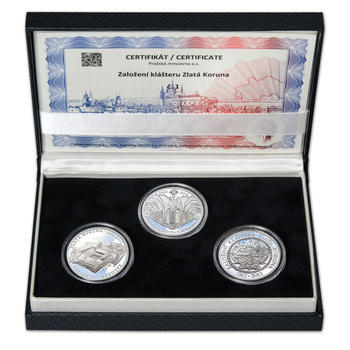 KLÁŠTER ZLATÁ KORUNA – návrhy mince 200,-Kč - sada tří Ag medailí 34mm Proof v etui - 1