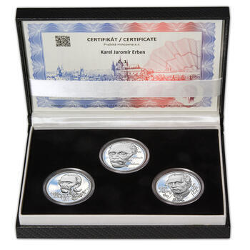 KAREL JAROMÍR ERBEN – návrhy mince 500 Kč - sada tří Ag medailí 34 mm Proof v etui - 1