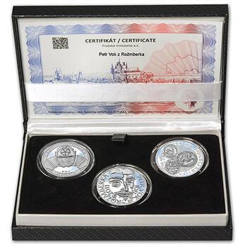 PETR VOK Z ROŽMBERKA – návrhy mince 200 Kč - sada tří Ag medailí 34 mm Proof v etui - 1