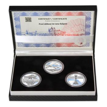 JAN KAŠPAR – návrhy mince 200,-Kč - sada tří Ag medailí 34mm Proof v etui - 1