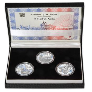 JIŘÍ MELANTRICH Z AVENTINA – návrhy mince 200,-Kč - sada tří Ag medailí 34mm Proof v etui - 1