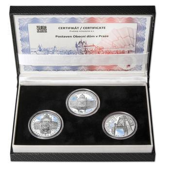OBECNÍ DŮM V PRAZE – návrhy mince 200 Kč - sada tří Ag medailí 34 mm Proof v etui - 1