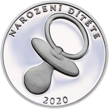 Stříbrný medailon k narození dítěte 2020 - 28 mm, Stříbrný medailon k narození dítěte 2020 - 28 mm - 1