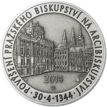 Povýšení pražského biskupství na arcibiskupství - 670 let - 28 mm stříbro patina