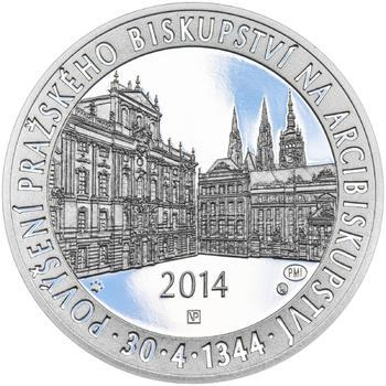 Povýšení pražského biskupství na arcibiskupství - 670 let - 28 mm stříbro Proof - 1