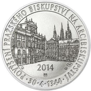 Povýšení pražského biskupství na arcibiskupství - 670 let - 28 mm stříbro b.k. - 1