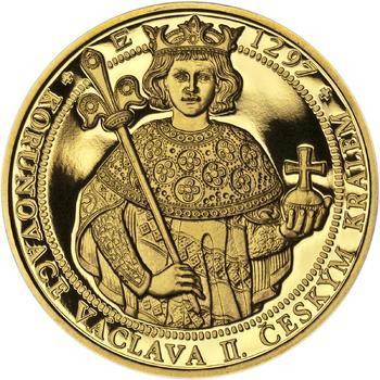 Korunovace Václava II. českým králem - zlatá Oz - PROOF - 1