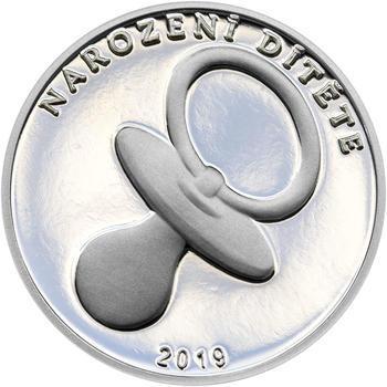 Stříbrný medailon k narození dítěte 2019 - 28 mm, Stříbrný medailon k narození dítěte 2019 - 28 mm - 1