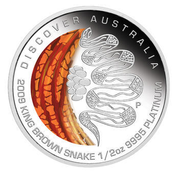 Australia Dreaming - King Brown Snake Pt 1/2 Oz Proof - Platina - 1