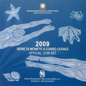 2009 Oběhové mince Itálie + € 5 Rome - XIII FINA World Championships + € 2 10 Years of EMU - 1